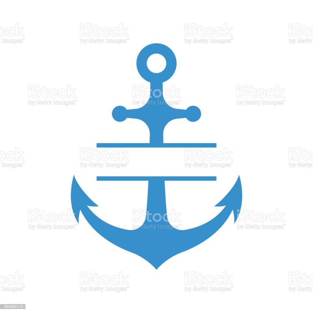 Nautische Anker mit Split Monogramm isoliert auf weißem Hintergrund. Blaue Sulhouette. Vektor – Vektorgrafik