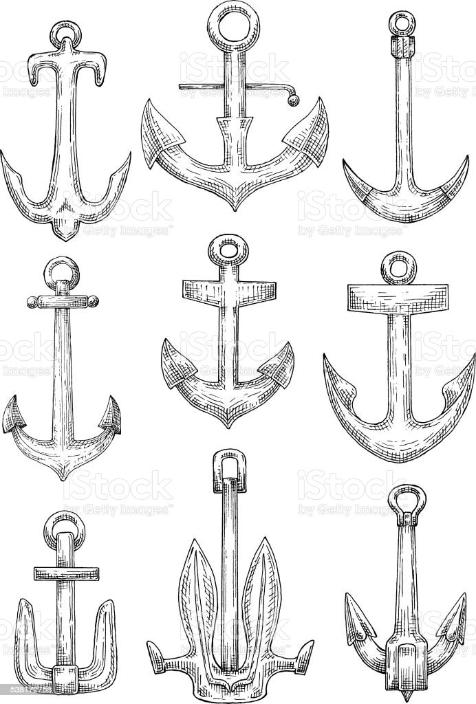 Nautical anchors for naval ships and boats design vector art illustration