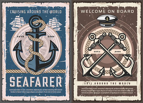 Nautical anchors, ship helm, rope and compass