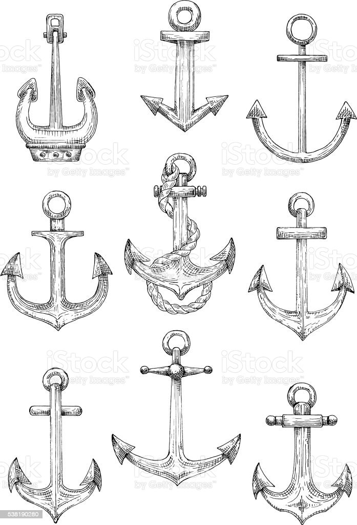 Nautical anchors with rope for marine theme design vector art illustration