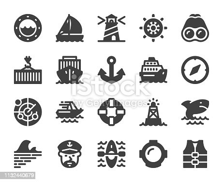 Nautical and Harbor Icons Vector EPS File.
