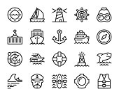 Nautical and Harbor Line Icons Vector EPS File.