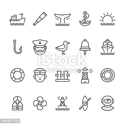 Nautical & Harbor theme related vector icons.