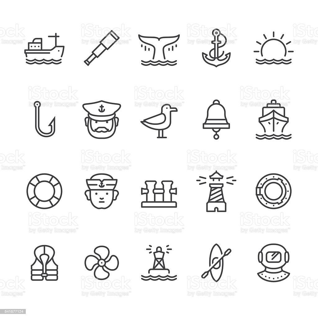 Nautique et le port de vecteur d'icônes sur le thème - Illustration vectorielle