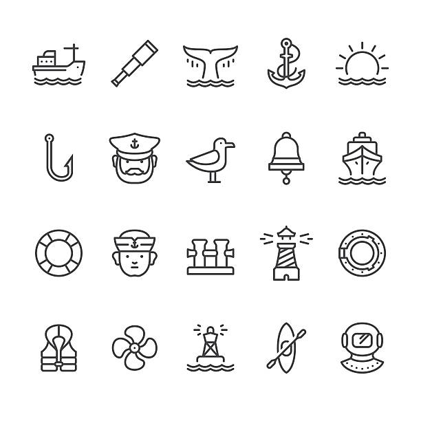 nautical and harbor theme vector icons - fishing stock illustrations