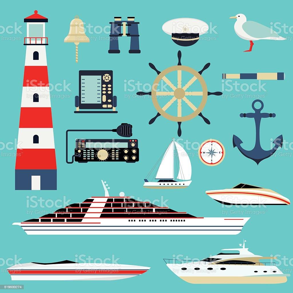 Nautical and marine icons, design element sea symbols vector vector art illustration