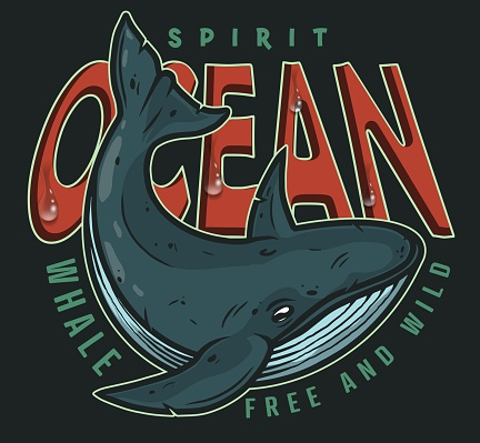 Nautical and marine labels with whale in vintage style isolated. Emblem for t-shirts. Vector