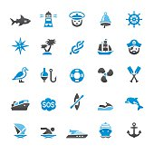Nautical And Marine related vector icons collection. Three-color palette /Isolated on white/ Quartico set #47 / transparent png-24 version 5000×5000 px included /