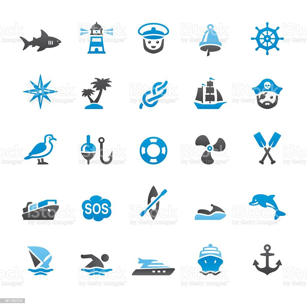 Nautical And Marine related vector icons vector art illustration