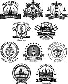 Yacht club nautical and marine heraldic icons set. Vector symbols of seafarer helm and sailor compass or knot, ship anchor and life buoy. Badges and ribbons with chains, trident and voyager boat