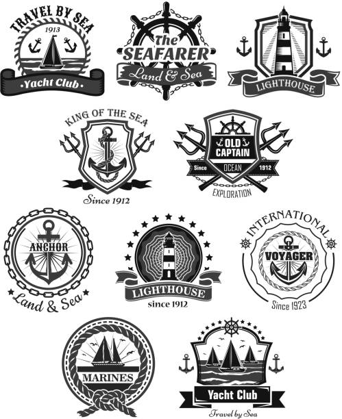 Nautical and marine symbols vector icons set vector art illustration
