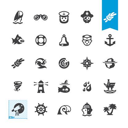 Nautical and Sailing vector icons