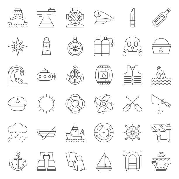 nautische und seemann, icon-set skizzieren - angelurlaub stock-grafiken, -clipart, -cartoons und -symbole