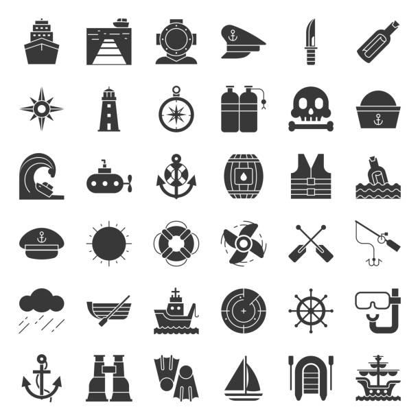 ilustrações de stock, clip art, desenhos animados e ícones de nautical and sailor, solid icon set - porto