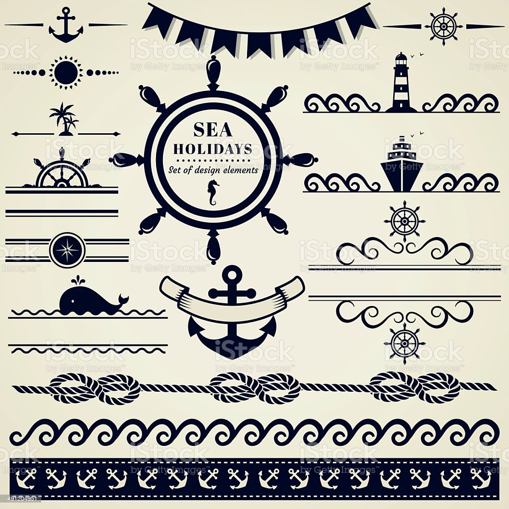 Nautical and sea design elements. Vector set. vector art illustration