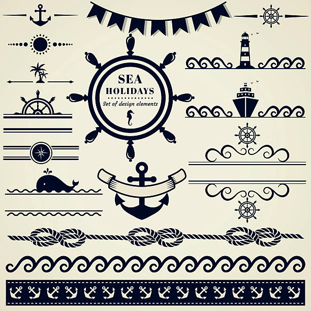 Nautical and sea design elements. Vector set. Collection of various nautical elements for design and page decoration. Vector illustration. cruise vacation stock illustrations