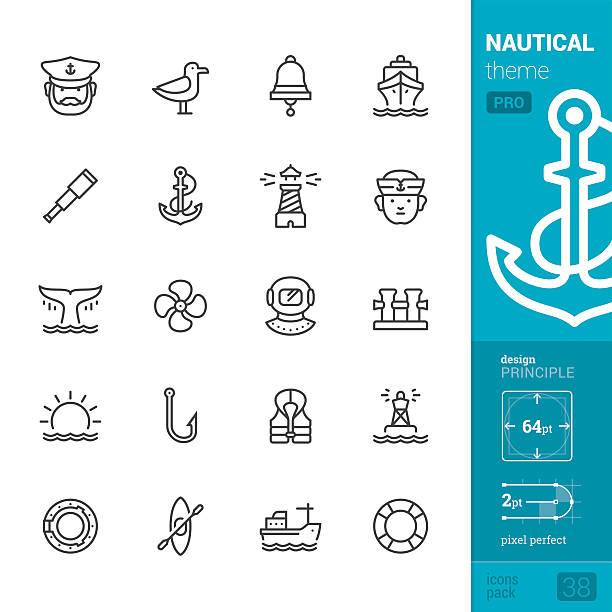 ilustrações de stock, clip art, desenhos animados e ícones de nautical and sea, outline vector icons - pro pack - fishing boat
