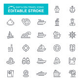 Nautical Vessel, Ship, Cruise Ship, Passenger Ship, Navigational Compass, Editable Stroke Icon Set