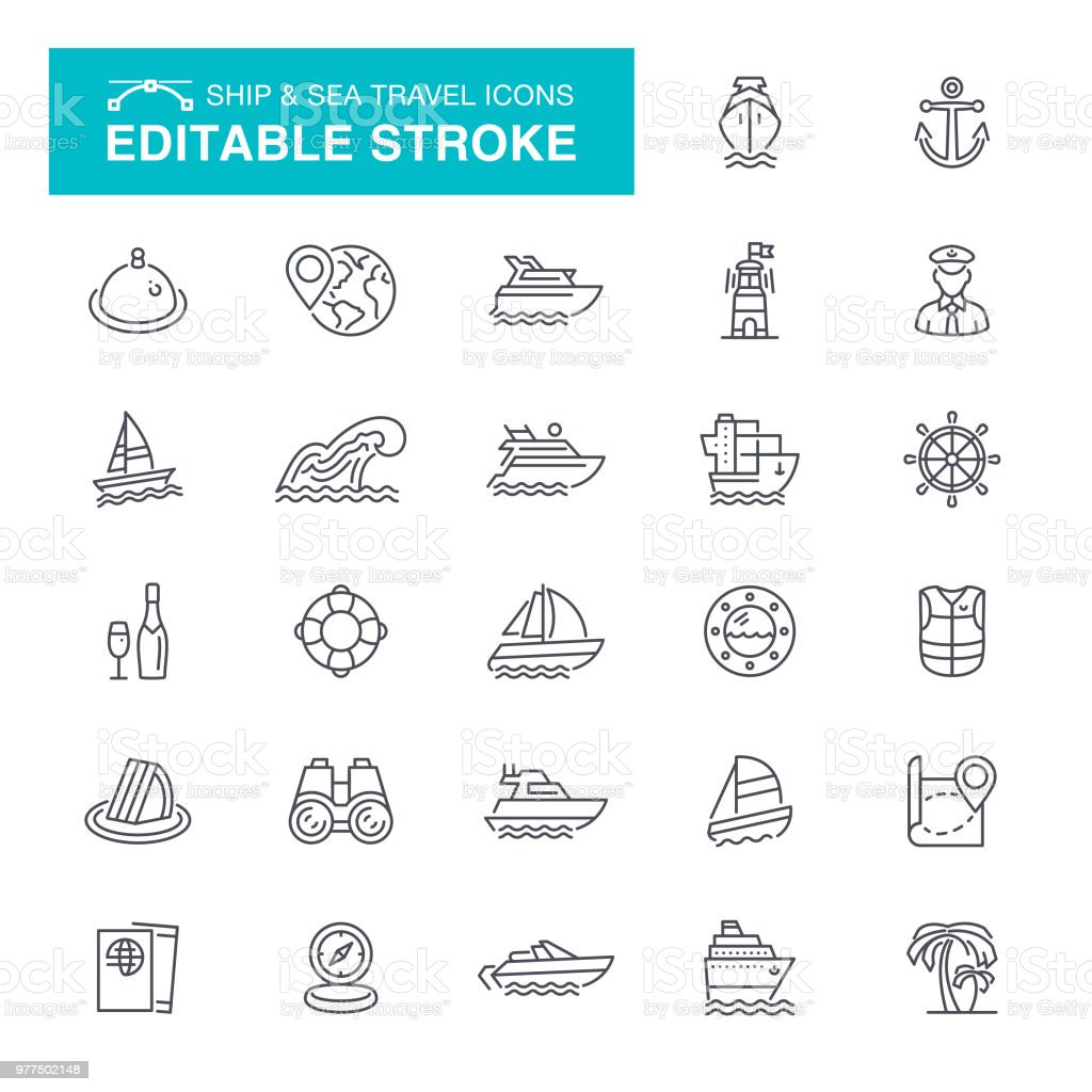 Nautical and Sea Travel Editable Stroke Icons vector art illustration