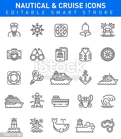 Vector set of Nautical and travel icons with boat, yacht, whale and seafood symbols