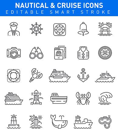 Nautical and Travel Icons. Editable stroke set