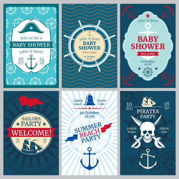ilustrações de stock, clip art, desenhos animados e ícones de nautical baby shower, birthday, beach party vector invitation cards - bebé praia