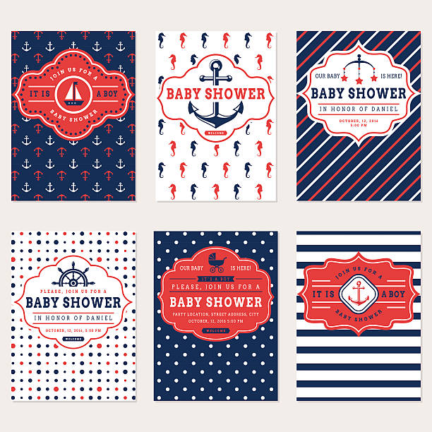 Nautische baby-Dusche-Karten. – Vektorgrafik