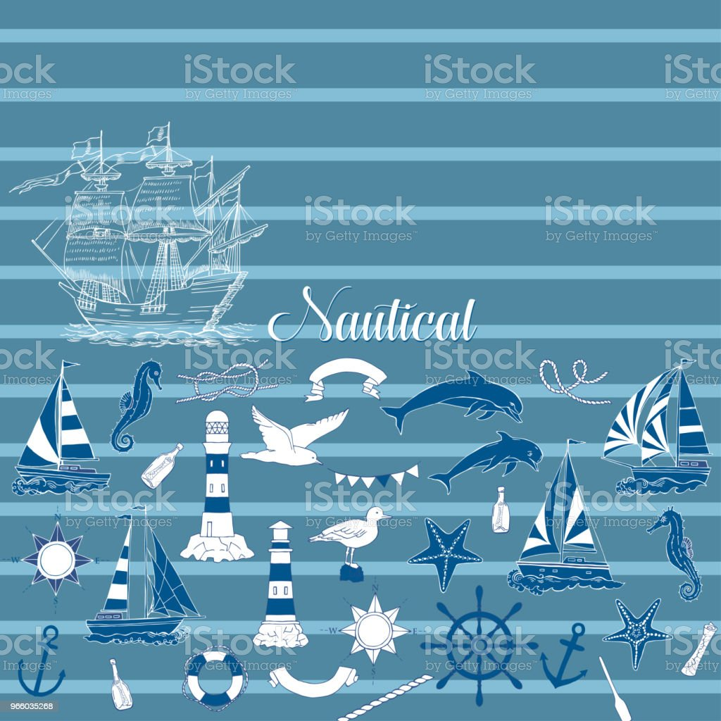 Nautical background with sailing vessels and wheel - Royalty-free Adhesive Tape stock vector