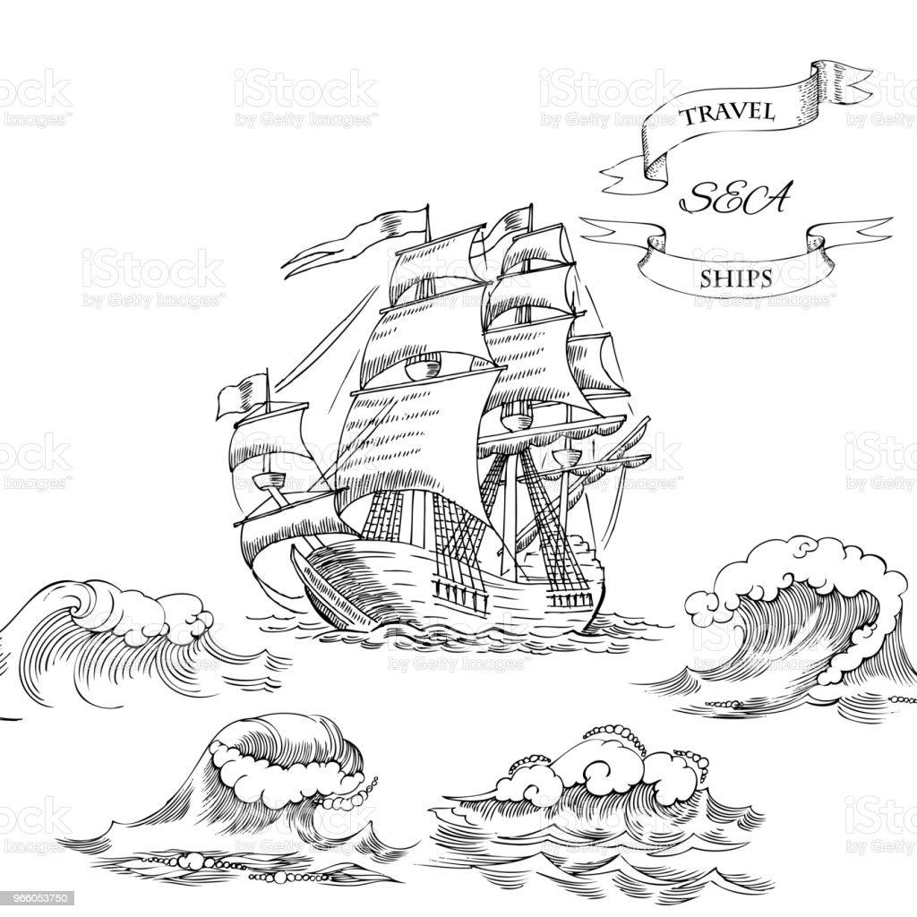 Nautiska bakgrund med segelfartyg - Royaltyfri ClipArt vektorgrafik