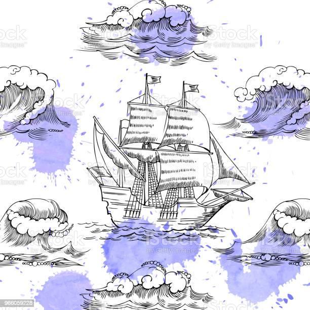 Nautiska Bakgrund Med Segelfartyg-vektorgrafik och fler bilder på ClipArt