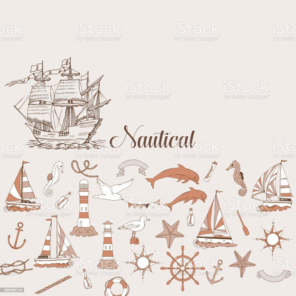 Nautische achtergrond met zeiljachten - Royalty-free Achtergrond - Thema vectorkunst