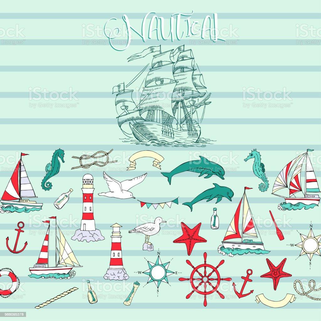 Nautische Hintergrund mit Segelschiffen - Lizenzfrei Anker Vektorgrafik