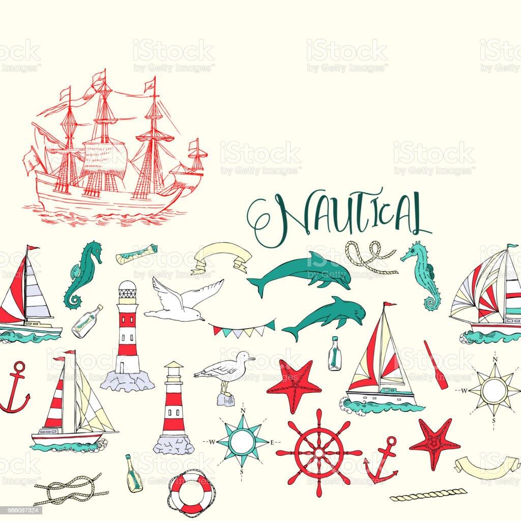 Nautiska bakgrund med segelfartyg - Royaltyfri Ankare - Fartygsdel vektorgrafik
