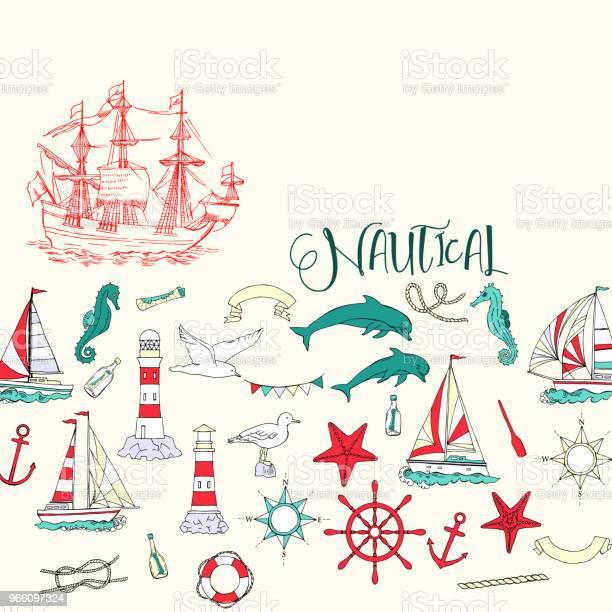 Nautiska Bakgrund Med Segelfartyg-vektorgrafik och fler bilder på Ankare - Fartygsdel