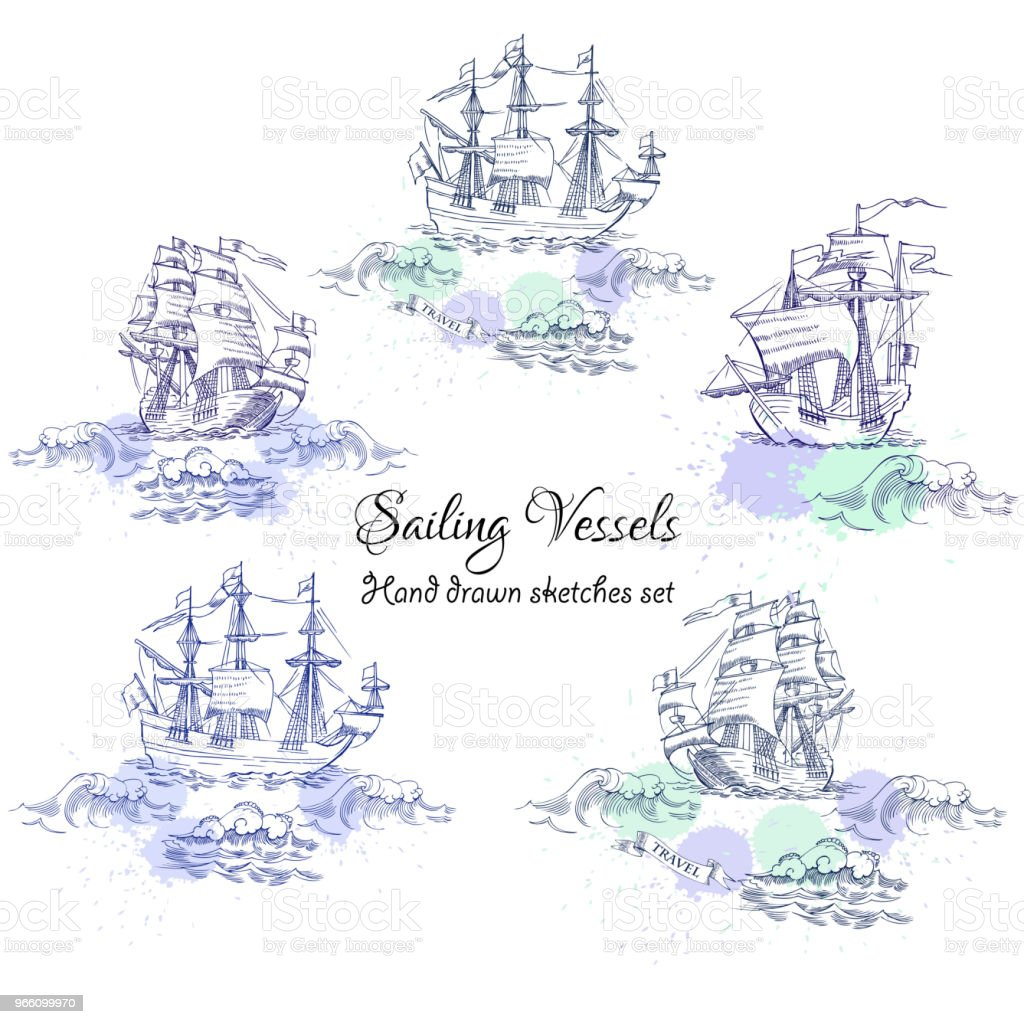 Nautical background with sailing vessels - Royalty-free Chapinhar arte vetorial