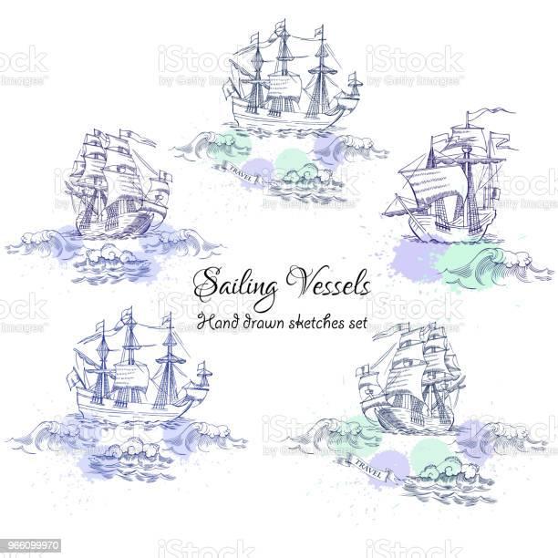 Nautiska Bakgrund Med Segelfartyg-vektorgrafik och fler bilder på Bildbakgrund