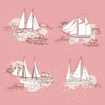 Nautical Background With Sailing Vessels — стоковая векторная графика и другие изображения на тему Векторная графика