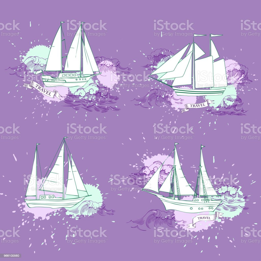 Nautical background with sailing vessels - Векторная графика Векторная графика роялти-фри