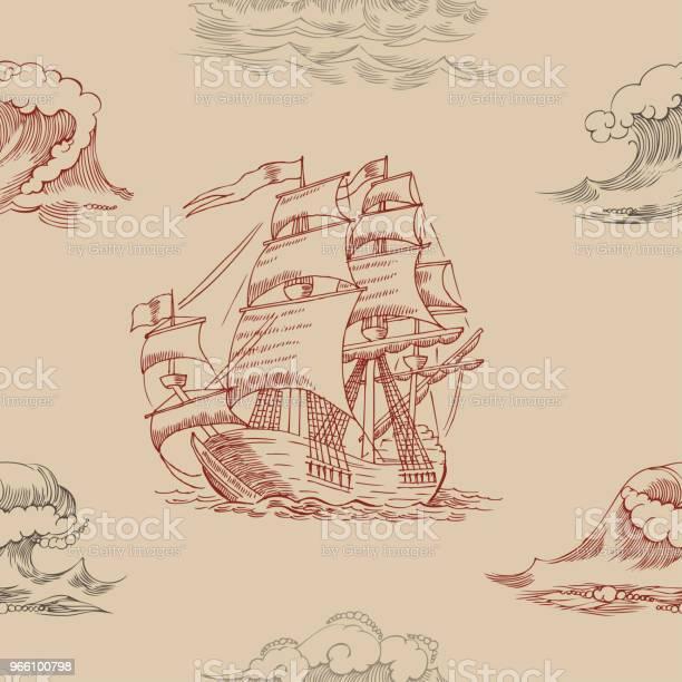 Nautical Background With Sailing Vessels - Arte vetorial de stock e mais imagens de Aventura