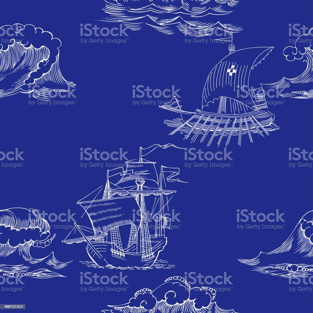Nautiska bakgrund med segelfartyg - Royaltyfri Båtar och fartyg vektorgrafik