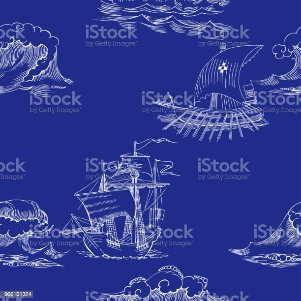Nautiska Bakgrund Med Segelfartyg-vektorgrafik och fler bilder på Båtar och fartyg