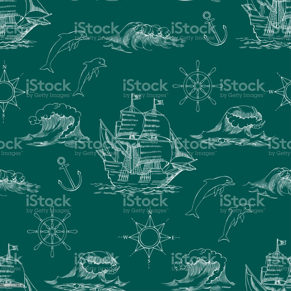 Nautical background with sailing vessels - Royalty-free Aventura arte vetorial