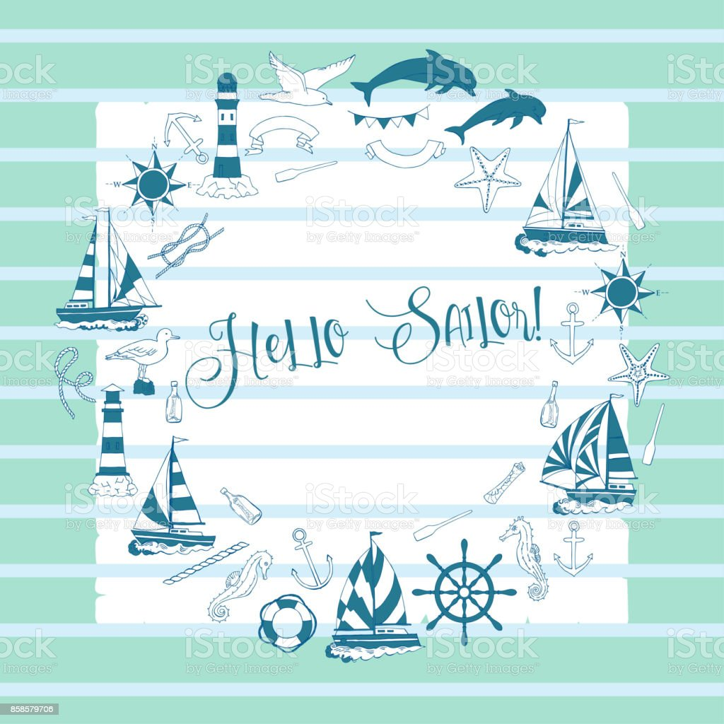 Nautical background with ships and wheel vector art illustration