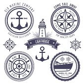 Set of vintage nautical labels, badges and design elements