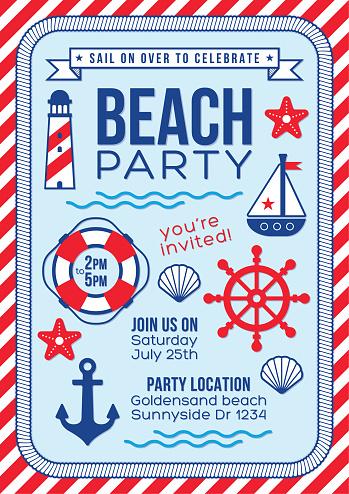 Nautical beach party navy sailor birthday celebration invitation