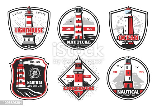 Nautical vector icons with lighthouses and beacons. Vector beacons and ship or compass silhouettes, signal light tower in sea with red stripes on cliff. Isolated icons and symbols