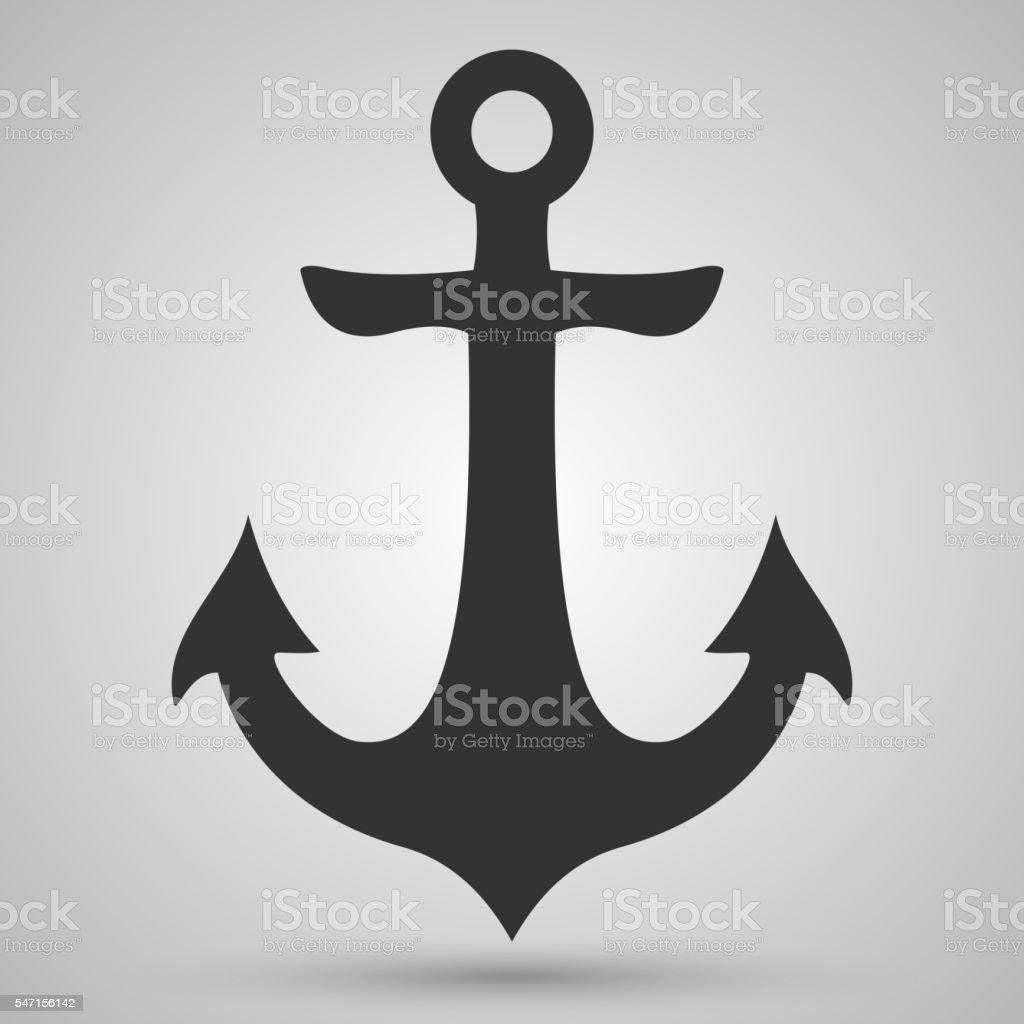 Nautical black anchor vector isolated white, EPS 10 vector art illustration