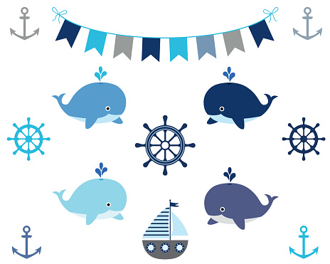 Nautical boy design elements in blue and grey - boat, whale, bunting, wheel, anchor