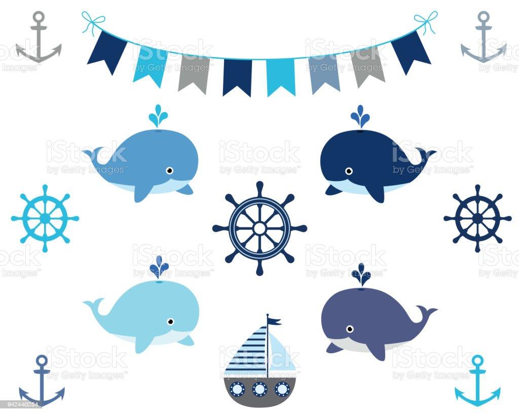 Éléments de design nautique garçon en bleu et gris - bateau, baleine, banderoles, roue, Ancre - Illustration vectorielle