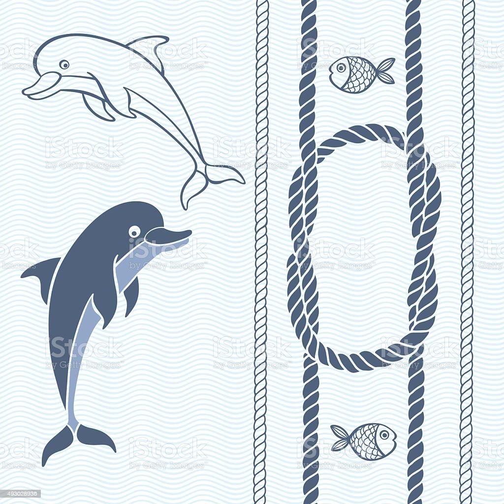 Nautische Karte Mit Rahmen Marine Seil Knoten Delfine Und Fisch ...